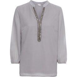 Bluzka szyfonowa bonprix szary. Szare bluzki z odkrytymi ramionami marki bonprix, z aplikacjami, z szyfonu, z dekoltem w serek. Za 109,99 zł.