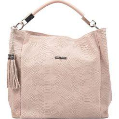 Torebki klasyczne damskie: Skórzana torebka w kolorze pudrowym – (S)35 x (W)48 x (G)14 cm