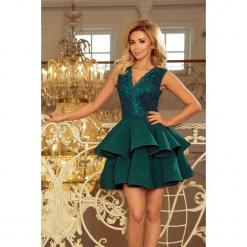 200-6 charlotte - ekskluzywna sukienka z koronkowym dekoltem - zielona. Zielone sukienki koronkowe marki numoco, l, rozkloszowane. Za 249,00 zł.
