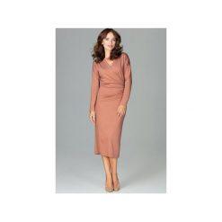 Sukienka K477 Brąz. Brązowe sukienki hiszpanki Lenitif, xl, z dekoltem w serek, z długim rękawem. Za 179,00 zł.