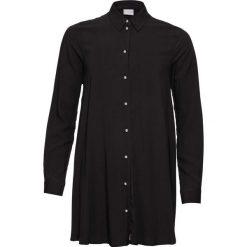 Bluzka z plisą guzikową z perełkami bonprix czarny. Czarne bluzki longsleeves marki bonprix, z falbankami. Za 89,99 zł.