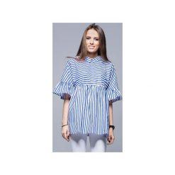Luźna koszulowa bluzka granat paski H011. Niebieskie bluzki damskie marki Harmony, s, w paski, z bawełny, z koszulowym kołnierzykiem. Za 147,00 zł.