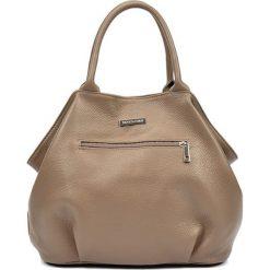 Torebki klasyczne damskie: Skórzana torebka w kolorze ciemnobeżowym – (S)30 x (W)37 x (G)13 cm