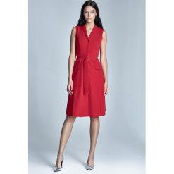 Czerwona Sukienka Koszulowa Szmizjerka z Kieszeniami bez Rękawów. Czerwone sukienki na komunię marki Molly.pl, l, z elastanu, z koszulowym kołnierzykiem, bez rękawów, koszulowe. Za 159,90 zł.
