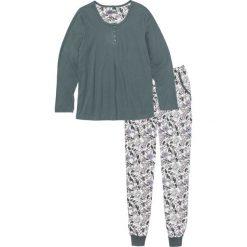 Piżamy damskie: Piżama bonprix zielony eukaliptusowy – biel wełny z nadrukiem