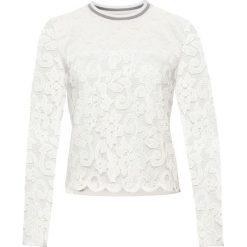 Swetry klasyczne damskie: Sweter koronkowy bonprix biały
