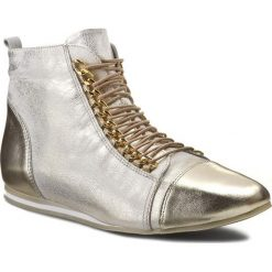 Botki R.POLAŃSKI - 0774 Złoty. Żółte buty zimowe damskie R.Polański, ze skóry, za kostkę, na wysokim obcasie, na sznurówki. W wyprzedaży za 239,00 zł.