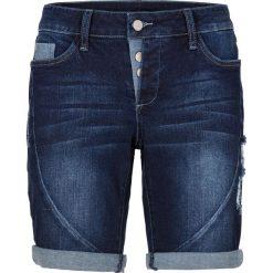 Szorty dżinsowe bonprix ciemny denim. Niebieskie bermudy damskie bonprix, z denimu. Za 109,99 zł.
