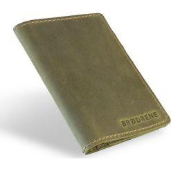 Skórzany portfel SLIM wallet BRODRENE oliwkowy. Czarne portfele męskie marki Brødrene, w paski, ze skóry. Za 84,90 zł.
