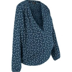 Bluzka ciążowa i do karmienia bonprix ciemnoniebieski z nadrukiem. Niebieskie bluzki ciążowe marki bonprix, z materiału, z dekoltem w serek. Za 89,99 zł.