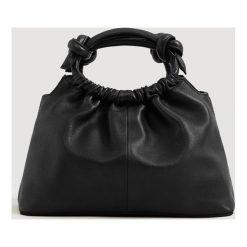 Mango - Torebka skórzana Bombon. Czarne torebki klasyczne damskie Mango, w paski, z bawełny, średnie. Za 269,90 zł.