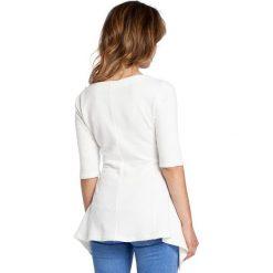 ETHEL Bluzka z rozkloszowanym dołem - ecru. Szare bluzki z odkrytymi ramionami BE, l, z dzianiny, biznesowe, z krótkim rękawem. Za 99,00 zł.