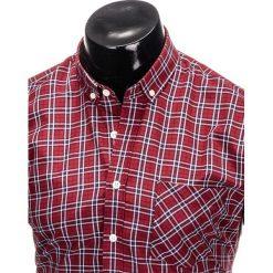 KOSZULA MĘSKA W KRATĘ Z DŁUGIM RĘKAWEM K394 - BORDOWA. Czerwone koszule męskie na spinki Ombre Clothing, m, z długim rękawem. Za 69,00 zł.