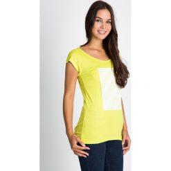 Bluzki asymetryczne: Żółta bluzka z ozdobnym haftem na przodzie QUIOSQUE
