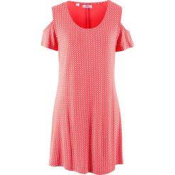 Sukienki: Sukienka shirtowa z wycięciami, krótki rękaw bonprix koralowy w kropki