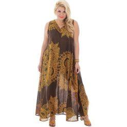 Odzież damska: Sukienka w kolorze brązowo-żółtym