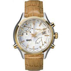 Biżuteria i zegarki męskie: Zegarek Timex Męski TW2P87900 IQ Traveller World Time brązowy