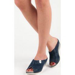 Niebieskie klapki na koturnie MIRANDA. Niebieskie buty ślubne damskie Vinceza, na koturnie. Za 159,00 zł.