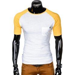 T-SHIRT MĘSKI BEZ NADRUKU S1015 - BIAŁY/ŻÓŁTY. Białe t-shirty męskie z nadrukiem marki Ombre Clothing, m. Za 35,00 zł.