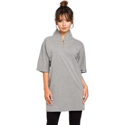 Bluzki, topy, tuniki: Szara Tunika Kimonowa z Wysokim Kołnierzem