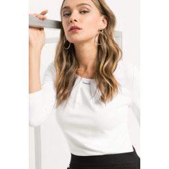 Koszulka z zakładkami. Brązowe bluzki longsleeves marki Orsay, s, z dzianiny. Za 69,99 zł.