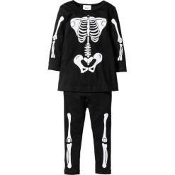 Sukienki dziewczęce: Sukienka + legginsy z nadrukiem szkieletu na Halloween (2 części) bonprix czarny z nadrukiem