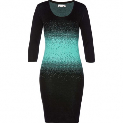 Sukienka dzianinowa bonprix czarno-zielony oceaniczny. Czarne sukienki dzianinowe bonprix, z okrągłym kołnierzem, dopasowane. Za 89,99 zł.