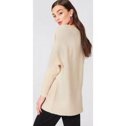Swetry oversize damskie: MANGO Dzianinowy sweter oversize - Beige