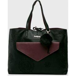 Desigual - Torebka dwustronna. Czarne torebki klasyczne damskie marki Desigual, z materiału, duże. Za 349,90 zł.