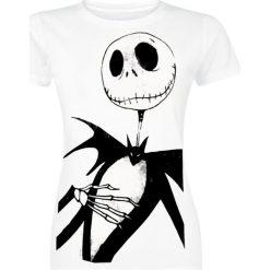 Miasteczko Halloween Jack Me Koszulka damska biały. Szare bluzki nietoperze marki TOMMY HILFIGER, m, z nadrukiem, z bawełny, casualowe, z okrągłym kołnierzem. Za 74,90 zł.