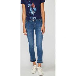 U.S. Polo - Jeansy Morgan. Niebieskie jeansy damskie rurki marki U.S. Polo, z bawełny. W wyprzedaży za 279,90 zł.