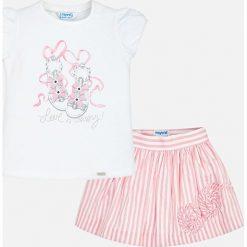 Mayoral - Komplet dziecięcy (top + spódnica) 98-134 cm. Szare bluzki dziewczęce bawełniane Mayoral, z nadrukiem, z okrągłym kołnierzem, z krótkim rękawem. Za 159,90 zł.