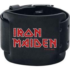 Bransoletki damskie na nogę: Iron Maiden Logo Bransoletka skórzana czarny