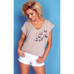 Bluzka t-shirt motylki k170. Niebieskie bluzki z odkrytymi ramionami Knitis, l, z dzianiny, klasyczne, z klasycznym kołnierzykiem, z krótkim rękawem. W wyprzedaży za 44,00 zł.