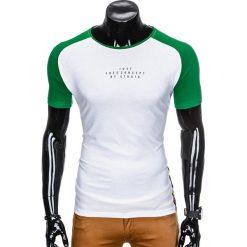 T-SHIRT MĘSKI Z NADRUKIEM S926 - BIAŁY/ZIELONY. Białe t-shirty męskie z nadrukiem Ombre Clothing, m. Za 29,00 zł.