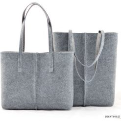 Duża Torebka - Totalnie Minimalistyczna -Niska. Szare torebki klasyczne damskie Pakamera, duże. Za 63,00 zł.