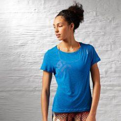 Topy sportowe damskie: Reebok Koszulka damska Work Out Ready Slub textured Tee niebieski r. XS (AJ3418)