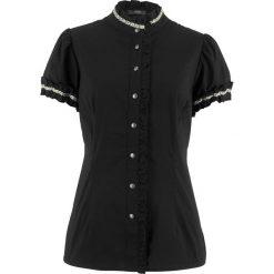 Bluzka z falbankami bonprix czarny. Czarne bluzki asymetryczne bonprix, z falbankami. Za 59,99 zł.