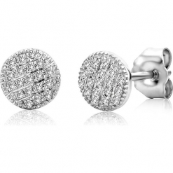 Złote kolczyki-wkrętki z diamentami. Szare kolczyki damskie REVONI, z diamentem, złote. W wyprzedaży za 646,95 zł.