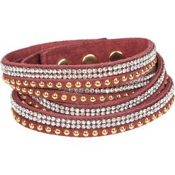 Bransoletki damskie: Skórzana bransoletka w kolorze czerwonym ze szklanymi kryształkami
