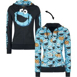 Bluzy rozpinane damskie: Ulica Sezamkowa Cookie Monster Bluza z kapturem rozpinana damska czarny/niebieski
