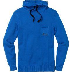 Sweter z szalowym kołnierzem Regular Fit bonprix lazurowy. Niebieskie swetry klasyczne męskie marki bonprix, l, z nadrukiem. Za 89,99 zł.