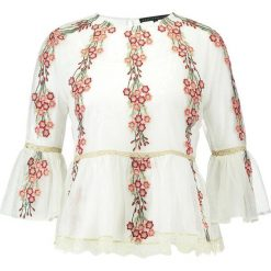 Bluzki asymetryczne: Endless Rose EMBROIDERED MESH WITH PEPLUM Bluzka off white combo
