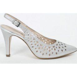 Caprice - Sandały. Szare sandały damskie Caprice, z materiału, na obcasie. W wyprzedaży za 179,90 zł.