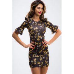 Czarna sukienka w żółte wzory 1231. Czarne sukienki Fasardi, l. Za 49,00 zł.
