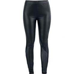 Spodnie damskie: Gothicana by EMP Leather Look Mesh Leggings Legginsy czarny