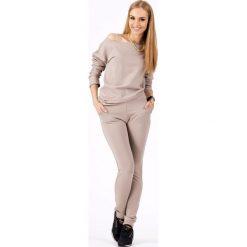 Odzież damska: Stylowy Cappuccino Kombinezon z Elastyczną Talią