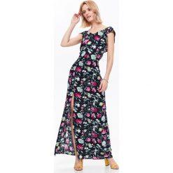 DŁUGA SUKIENKA W KWIATY Z ODKRYTYMI PLECAMI, Z MODNYM WIĄZANIEM Z TYŁU. Szare długie sukienki marki Top Secret, na jesień, w kwiaty, z długim rękawem. Za 69,99 zł.
