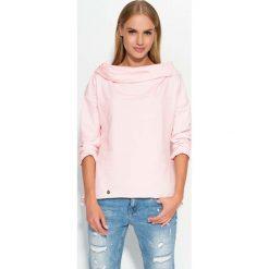 Bluzy damskie: Różowa Bluza z Szerokim Kapturem