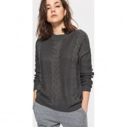 Sweter z warkoczowym splotem - Szary. Szare swetry klasyczne damskie Cropp, l, ze splotem. Za 49,99 zł.